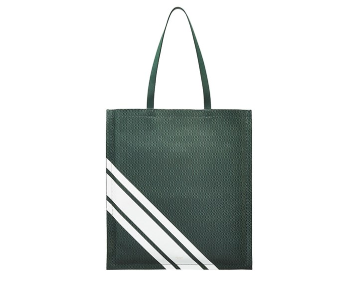 """A chic carry-all that your mum can take from the gym to the supermarket and everywhere in between? This leather Oroton design ticks all the boxes. <br><br> Bag by [Oroton](https://www.oroton.com.au/venture-stripe-magazine-tote-bottle-green-osfa