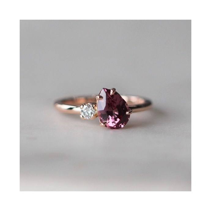 """***January: Garnet***<br><br> Malaya garnet and diamond ring by [Meg Maskell](https://www.megmaskell.com.au/collections/engagement-available-now/products/malaya-garnet-diamond-ring
