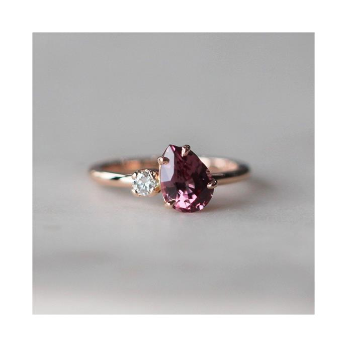 "***January: Garnet***<br><br> Malaya garnet and diamond ring by [Meg Maskell](https://www.megmaskell.com.au/collections/engagement-available-now/products/malaya-garnet-diamond-ring|target=""_blank""