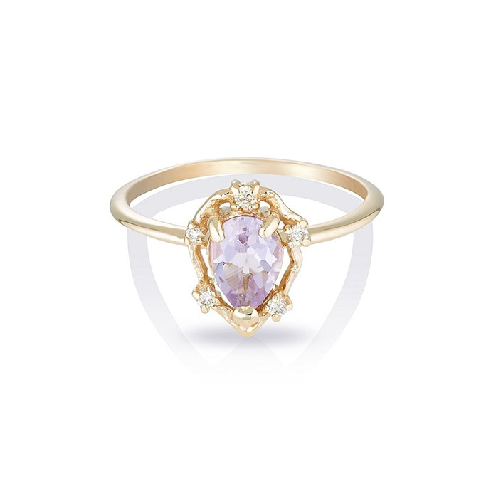 """***February: Amethyst*** <br><br> Amethyst and diamond ring, $480 by [HLSK](https://hlsk.com.au/collections/rings/products/peone-ii-pink-amethyst-diamonds