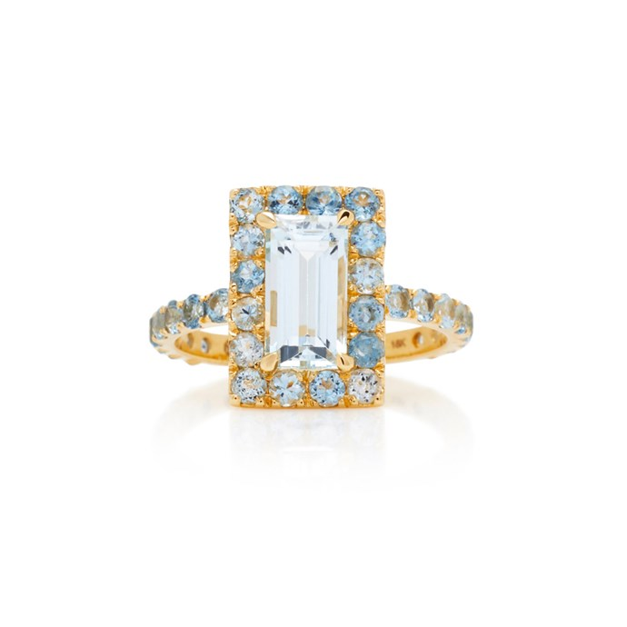 """***March: Aquamarine***<br><br> Aquamarine and gold ring by Yi Collection, $2,545 at [Moda Operandi](https://www.modaoperandi.com/yi-collection-ss18/18k-gold-aquamarine-ring