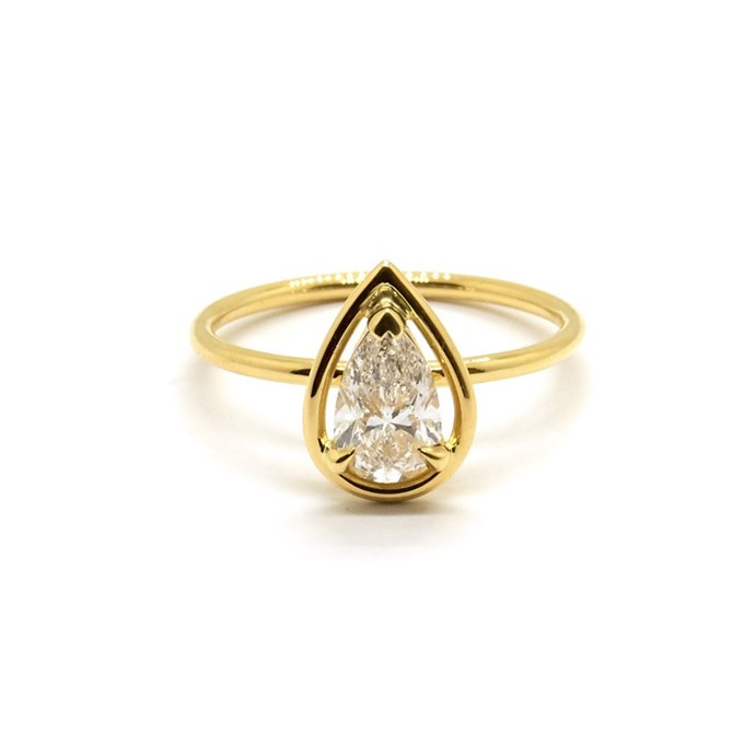 """***April: Diamond***<bR><br> Pear Solitaire ring, $9,260 at [Natalie Marie Jewellery](https://www.nataliemariejewellery.com/collections/engagement-rings/products/pear-diamond-halo-solitaire-0-70-carat-diamond