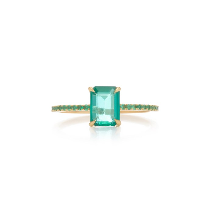 """***May: Emerald***<br><br> Emerald and gold ring by Yi Collection, $3,165 at [Moda Operandi](https://www.modaoperandi.com/yi-collection-r19/18k-gold-emerald-ring