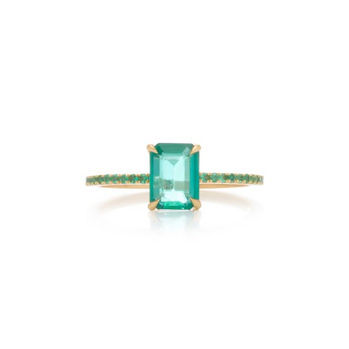 "***May: Emerald***<br><br> Emerald and gold ring by Yi Collection, $3,165 at [Moda Operandi](https://www.modaoperandi.com/yi-collection-r19/18k-gold-emerald-ring|target=""_blank""