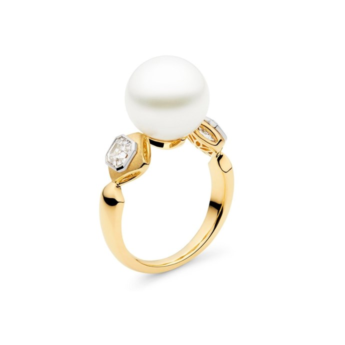 """***June: Pearl or Alexandrite***<br><br> Gold, pearl and diamond ring, $8,900 at [Kailis Jewellery](https://www.kailisjewellery.com.au/royal-meridian-ring-yellow-gold.html