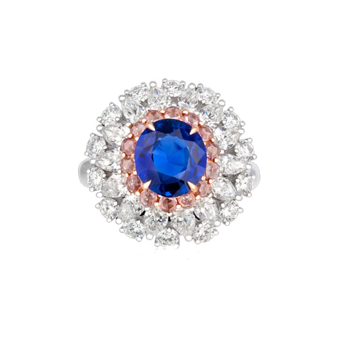 """***September: Sapphire***<br><br> White and rose gold ring with sapphire, POA at [Hardy Brothers](https://www.hardybrothers.com.au/products/9MRSPD01