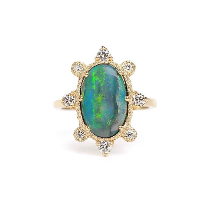 """***October: Tourmaline or Opal***<br><br> Black opal and diamond ring, $3,950 at [James & Irisa](https://jamesandirisa.com.au/collections/bridal/products/sunray-black-opal-ring
