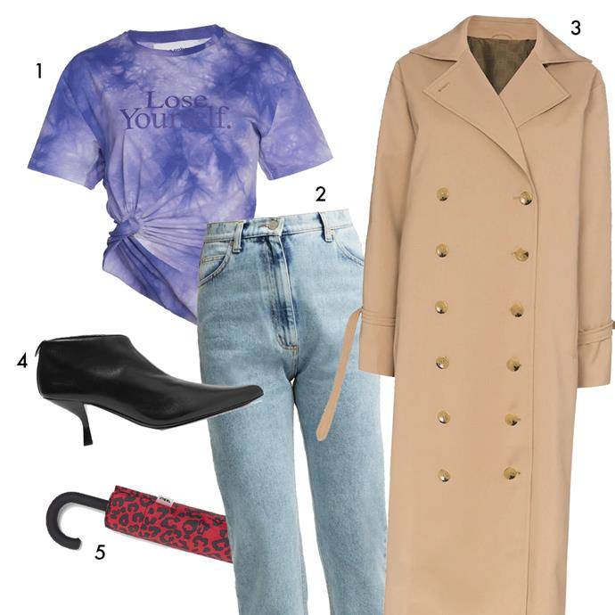 """*The formula: Tee + thick jeans + a chic trench + even chicer boots*<br><Br> 1, Tee by Paco Rabanne, $225 at [Moda Operandi](https://www.modaoperandi.com/paco-rabanne-ss19/knotted-tie-dye-cotton-jersey-t-shirt