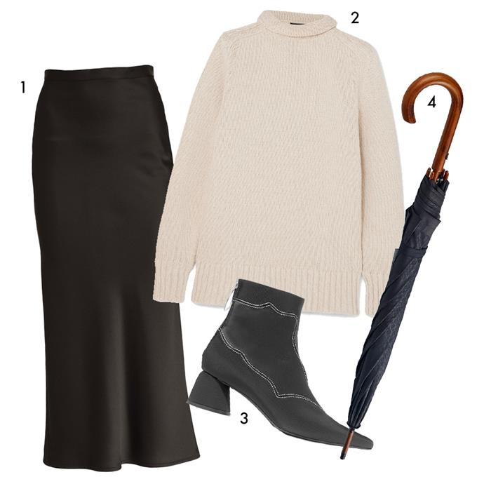 """*The formula: A slip skirt + an oversized knit + enclosed boots with a twist*<br><Br> 1, Skirt by Kacey Devlin, $355 at [The Undone](https://www.theundone.com/collections/skirts/products/catalyst-skirt