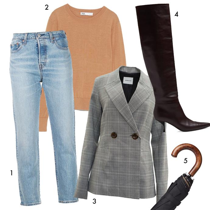 """*The formula: A straight-cut pair of jeans + a thin knit + a check blazer + over-the-knee boots to bring it together*<bR><bR> 1, Jeans by Levi's, $170 at [Farfetch](https://www.farfetch.com/au/shopping/women/levis-crop-tapered-jeans-item-13794501.aspx?storeid=9058