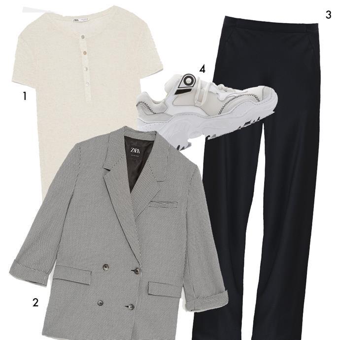 "*The formula: A simple tee + black trousers + a check blazer + dad sneakers*<br><br> 1, Tee, $25.95 by [ZARA](https://www.zara.com/au/en/t-shirt-with-buttons-p02878154.html?v1=8471676&v2=1010689|target=""_blank""|rel=""nofollow""); 2, Blazer, $139 by [ZARA](https://www.zara.com/au/en/check-blazer-p04661005.html?v1=8948613&v2=1010155|target=""_blank""|rel=""nofollow""); 3, Trousers by Christopher Esber, $690 at [The Undone](https://www.theundone.com/products/christopher-esber-bias-satin-trouser-black|target=""_blank""|rel=""nofollow""); 4, Sneakers by N°21, $890 at [Moda Operandi](https://www.modaoperandi.com/no-21-fw18/billy-white-sneakers|target=""_blank""|rel=""nofollow"")."