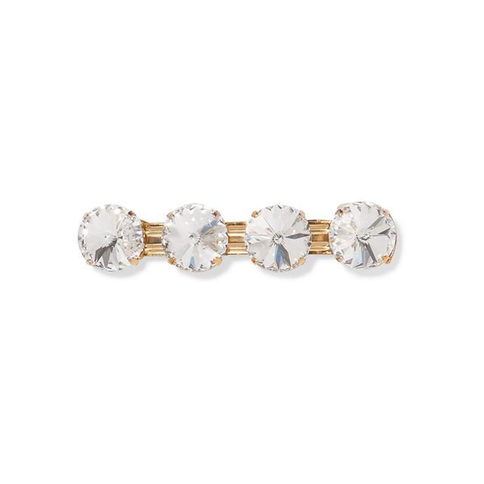 "Clip by Rosantica, $210 at [NET-A-PORTER](https://www.net-a-porter.com/au/en/product/1126132/Rosantica/estasi-gold-tone-crystal-hairclip-|target=""_blank""|rel=""nofollow"")."