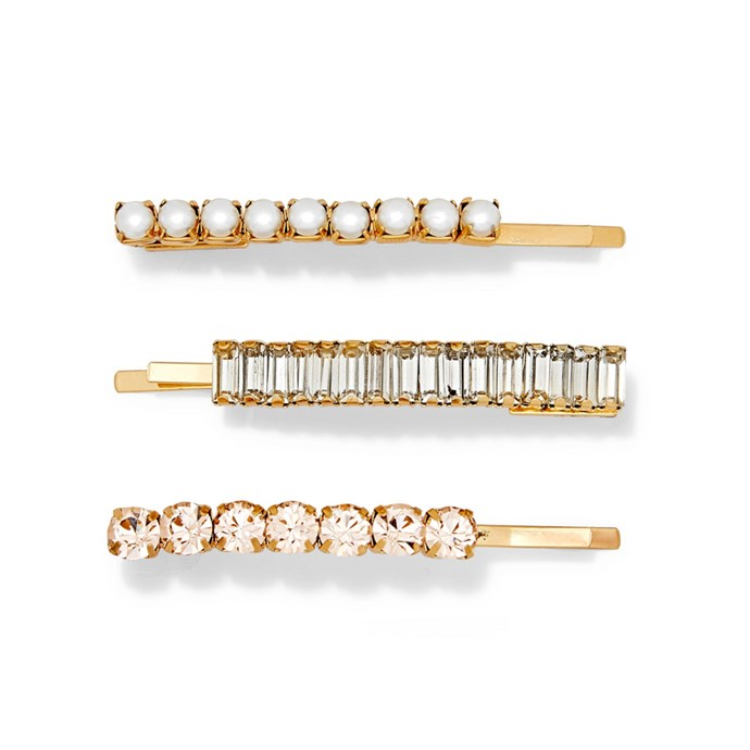 "Set of three clips by Lelet NY, $206 at [NET-A-PORTER](https://www.net-a-porter.com/au/en/product/1138396/LELET_NY/set-of-three-lili-gold-plated-crystal-and-faux-pearl-hair-slides|target=""_blank""