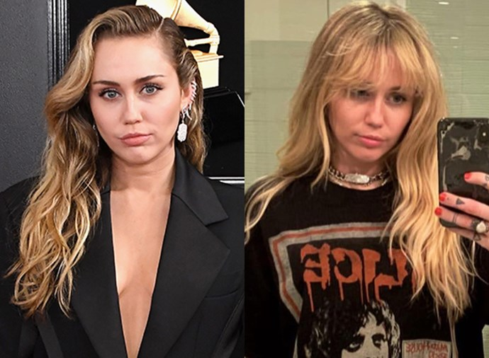 **Miley Cyrus:** Miley Cyrus revealed on her Instagram that she's thrown it all the way back to 2006 with this very *Hannah Montana*-esque cut and colour. The singer and actress lightened up her natural blonde, got rid of her grown-in roots and cut a fringe. The best of both worlds.