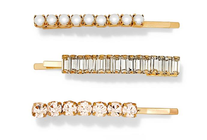 """Clip set by Lelet NY, $206.10 at [Net-a-Porter](https://www.net-a-porter.com/au/en/product/1138396/lelet_ny/set-of-three-lili-gold-plated--crystal-and-faux-pearl-hair-slides