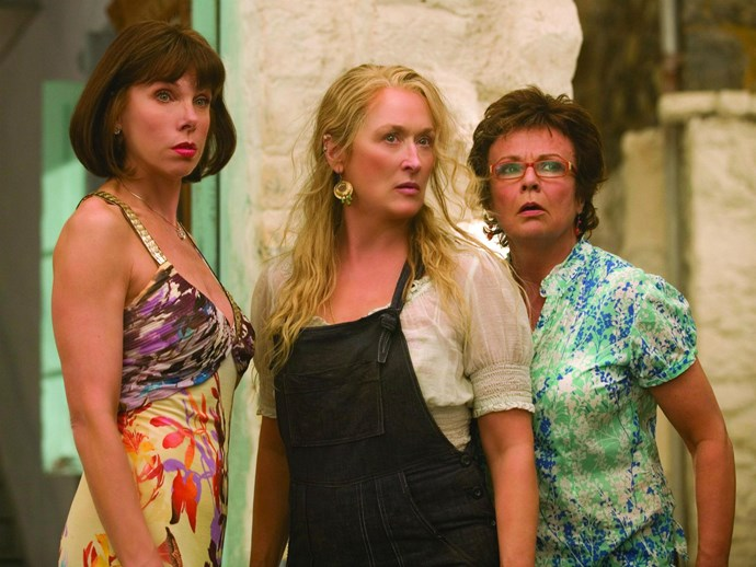 ***Mamma Mia!:*** Before Sophie (Amanda Seyfried) gets married, she decides to try and find her so-far-unidentified father by reaching out to all of her mother's ex-lovers and inviting them to her wedding. Needless to say, they seize the opportunity to reconnect with Sophie's mother, Donna (Meryl Streep), and all rock up on the same Greek island together. Hilarity and musical numbers ensue.