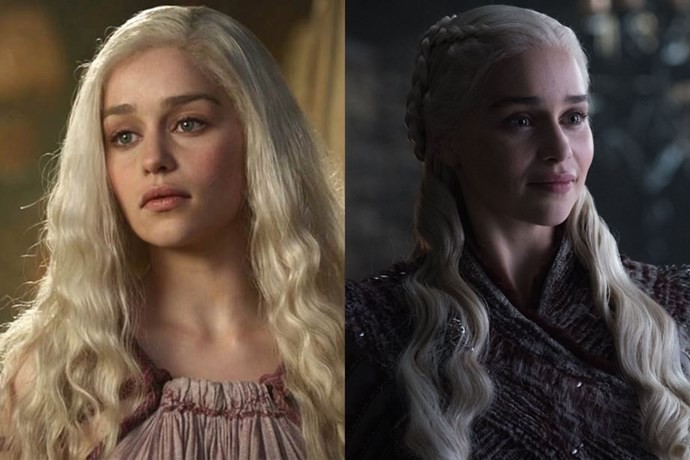 Daenerys Targaryen in season one, and in season eight.