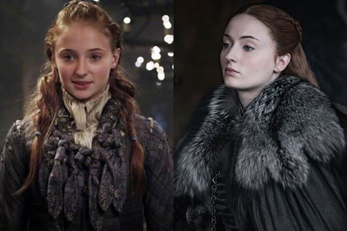 Sansa Stark in season one, and in season eight.
