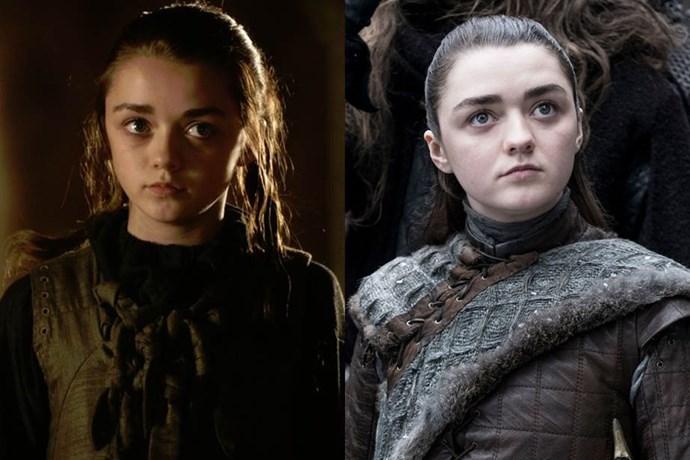 Arya Stark in season one, and in season eight.