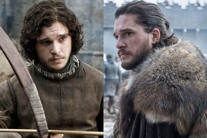 Jon Snow in season one, and in season eight.