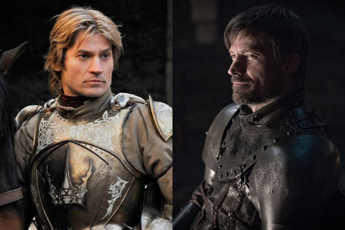 Jaime Lannister in season one, and in season eight.