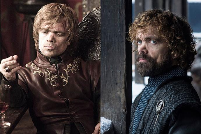 Tyrion Lannister in season one, and in season eight.