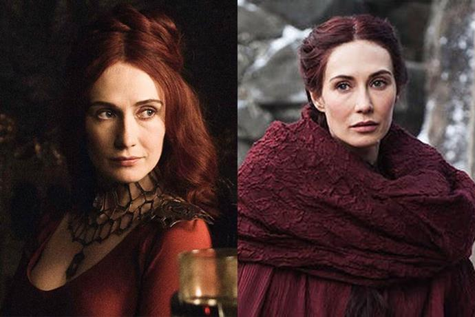 Melisandre in season one, and in season eight.