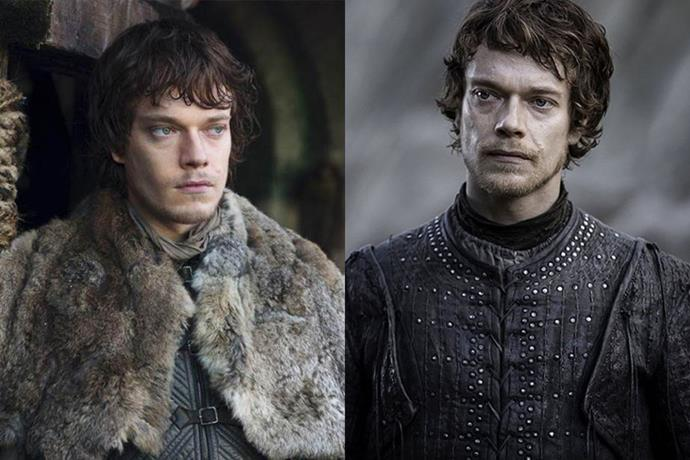 Theon Greyjoy in season one, and in season eight.