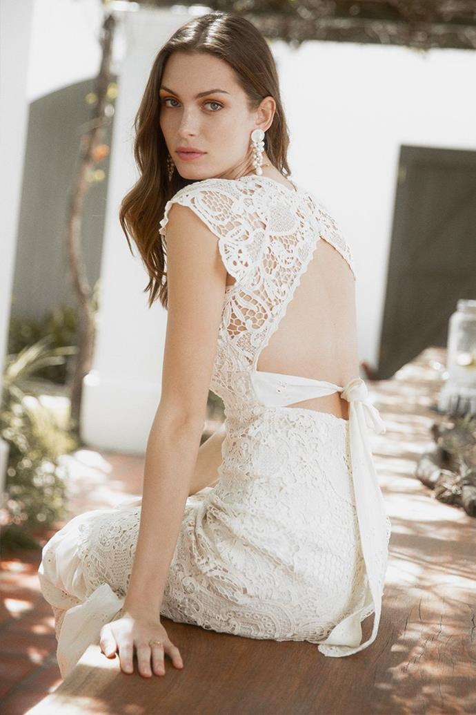 "The 'Brooklyn' gown, $845 at [Spell & The Gypsy Collective](https://shop.spelldesigns.com.au/collections/spell-bride/products/brooklyn-gown-off-white|target=""_blank""