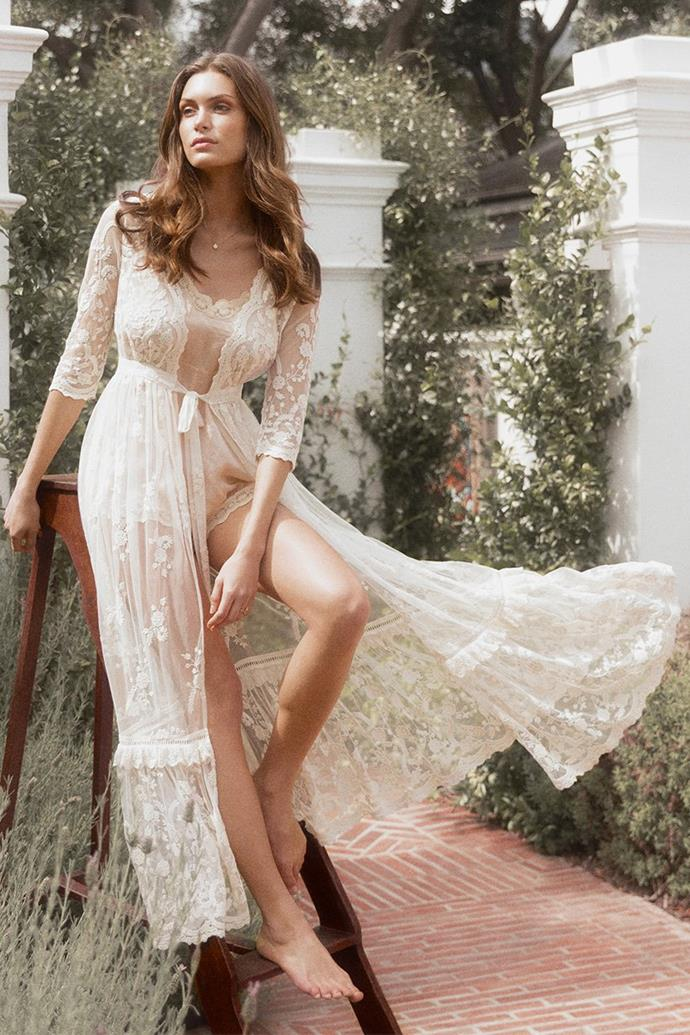 "The 'Chloe' duster, $495 at [Spell & The Gypsy Collective](https://shop.spelldesigns.com.au/collections/spell-bride/products/chloe-duster-off-white|target=""_blank""