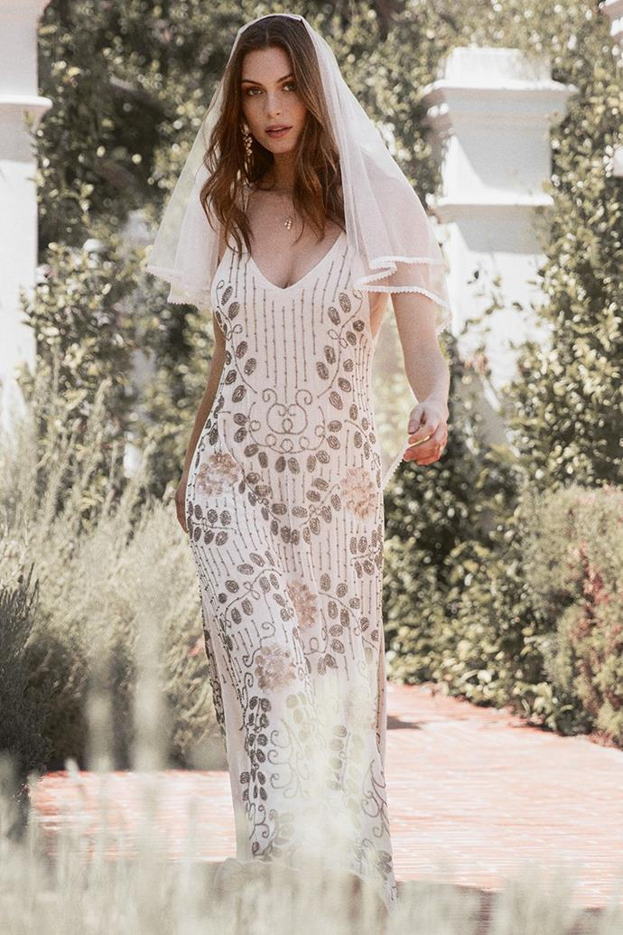 "The 'Elsa' gown, $1,695 at [Spell & The Gypsy Collective](https://shop.spelldesigns.com.au/collections/spell-bride/products/elsa-gown-off-white|target=""_blank""