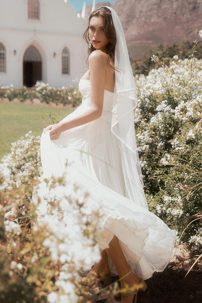 "The 'Zoe' gown, $795 at [Spell & The Gypsy Collective](https://shop.spelldesigns.com.au/collections/spell-bride/products/zoe-tulle-gown-off-white|target=""_blank""