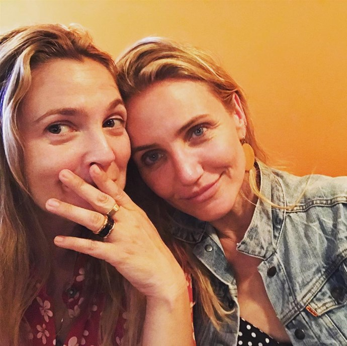 """**Drew Barrymore and Cameron Diaz**<br><br>  These two actually became friends when Barrymore was working in a coffee shop almost 30 years ago, but it wasn't until the *Charlie's Angels* reboot in 2002 that they became true best friends.<br><br>   """"We're like more than best friends, she's my sister,"""" Barrymore said in an interview with *[ET](https://www.etonline.com/drew-barrymore-talks-honest-friendship-with-cameron-diaz-we-push-each-other-exclusive-106043