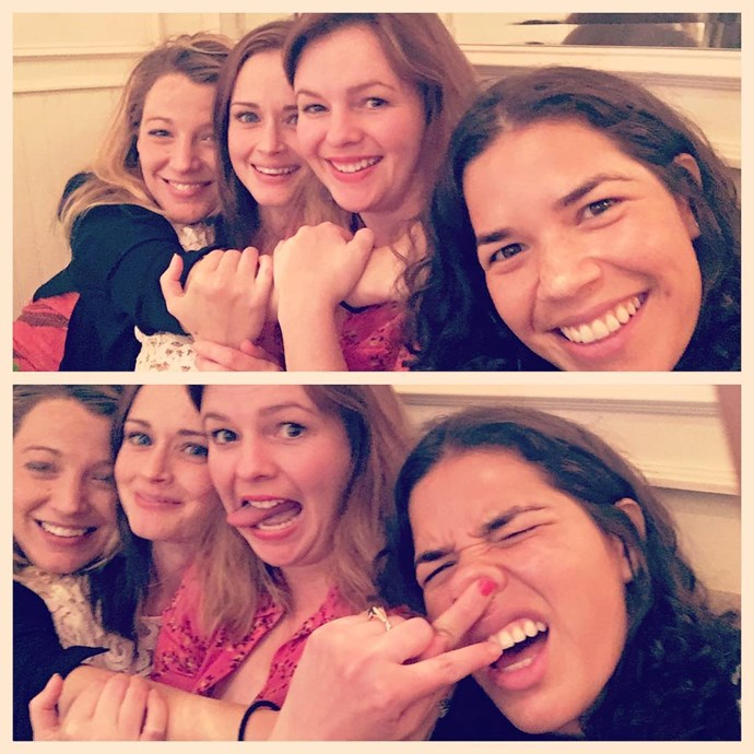"""**Blake Lively, Alexis Bledel, Amber Tamblyn and America Ferrera**<br><br>  If this isn't friendship goals, we don't know what is! All four of *The Sisterhood of the Traveling Pants* co-stars are all still tight in real life, with the quartet having attended each other's weddings, baby showers and even [charity campaigns](https://www.youtube.com/watch?v=ha3zR88fhyU
