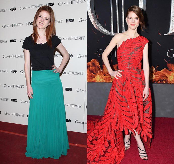 Rose Leslie at the season one premiere (left) and the season eight premiere (right).