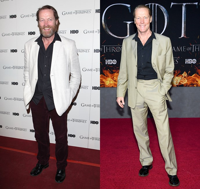 Iain Glen at the season one premiere (left) and the season eight premiere (right).