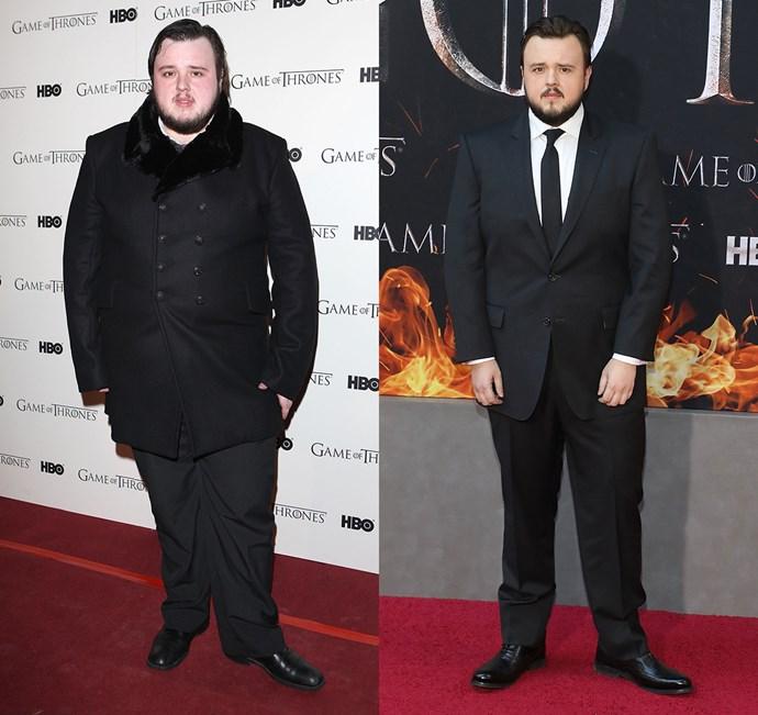 John Bradley West at the season one premiere (left) and the season eight premiere (right).