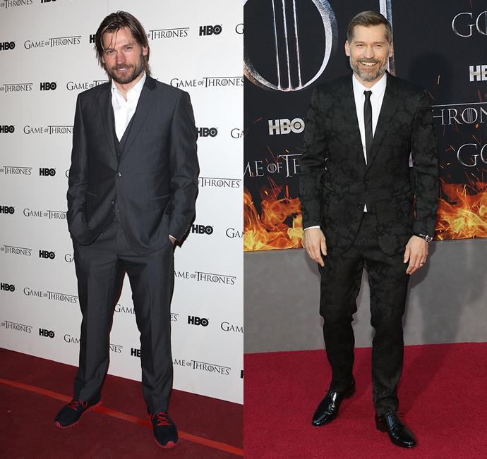 Nikolaj Coster-Waldau at the season one premiere (left) and the season eight premiere (right).