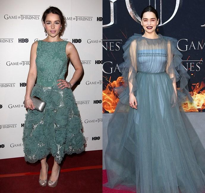 Emilia Clarke at the season one premiere (left) and the season eight premiere (right).