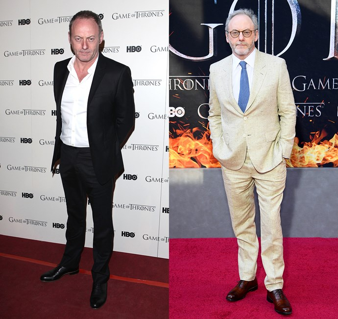 Liam Cunningham at the season one premiere (left) and the season eight premiere (right).