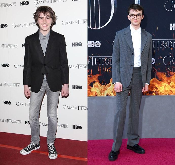 Isaac Hempstead-Wright at the season one premiere (left) and the season eight premiere (right).