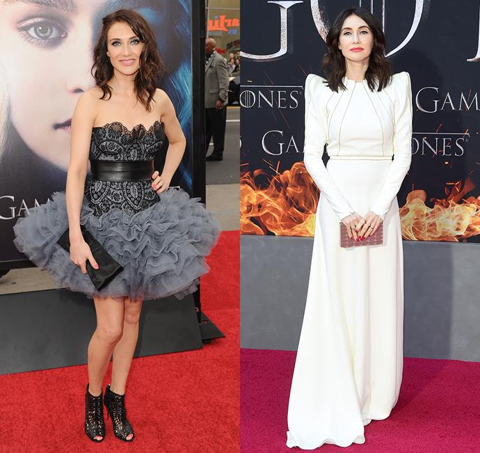 Carice van Houten at the season three premiere (left) and the season eight premiere (right).