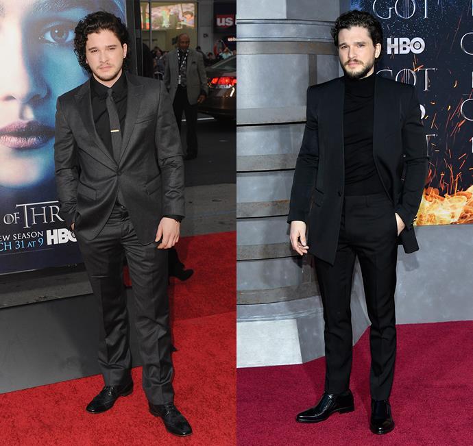 Kit Harington at the season three premiere (left) and the season eight premiere (right).