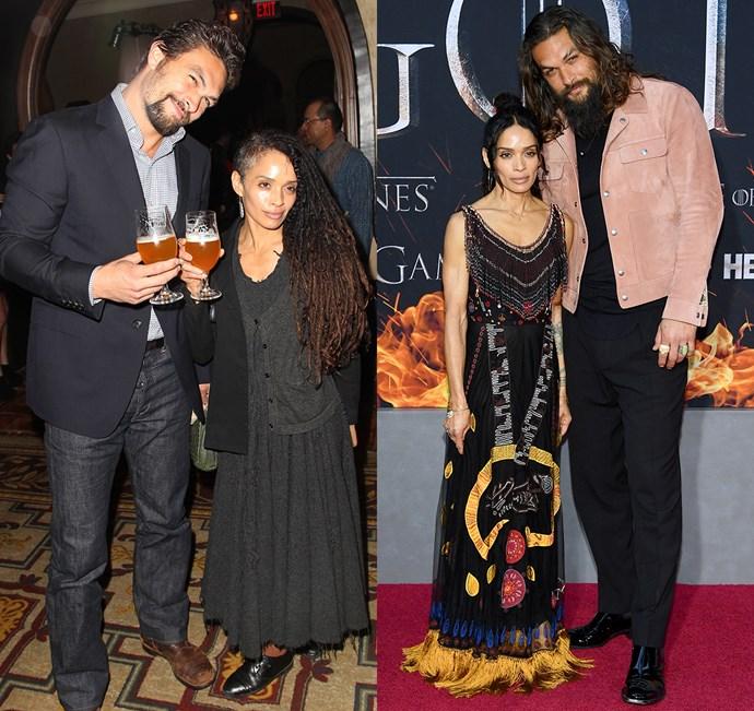 Jason Momoa and Lisa Bonet at the season two premiere (left) and the season eight premiere (right).