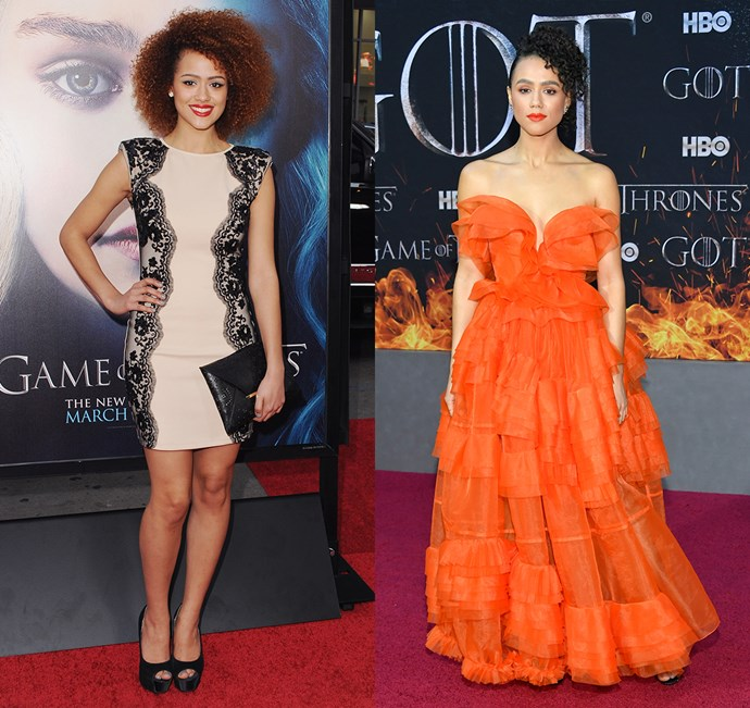 Nathalie Emmanuel at the season three premiere (left) and the season eight premiere (right).