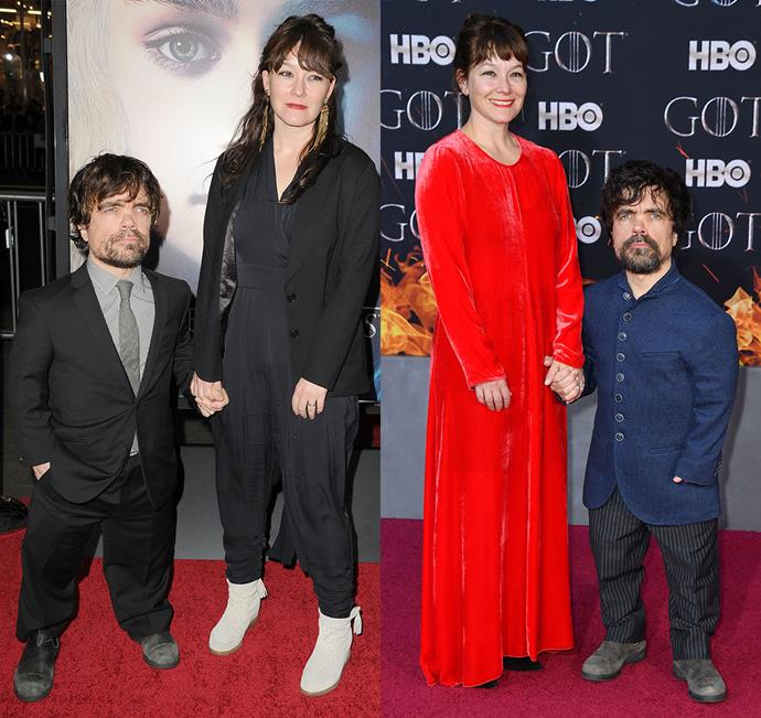 Peter Dinklage and Erica Schmidt at the season three premiere (left) and the season eight premiere (right).
