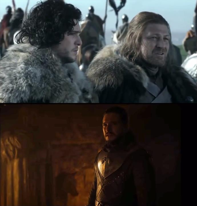 "Another heartbreaking parallel. When Ned parted with Jon in season one, he told him: ""The next time we see each other, we will talk about your mother. I promise."" When Sam told Jon the truth of his parentage, the statue of Ned was standing over his shoulder."