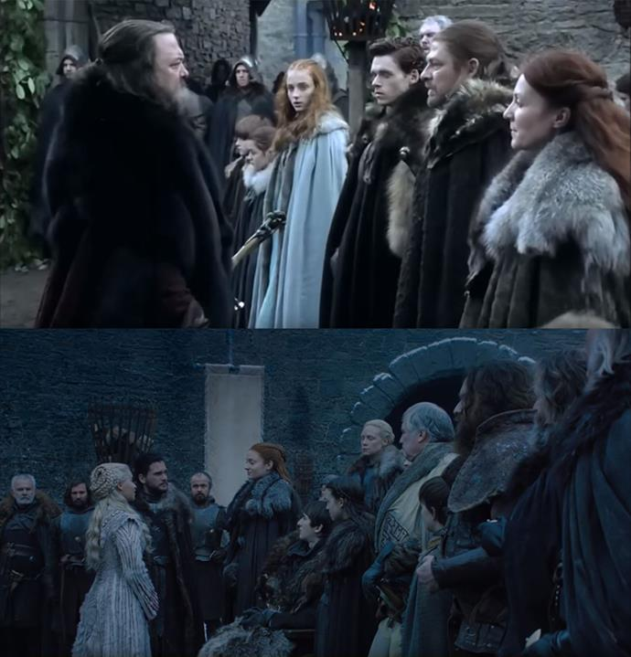When Daenerys first greets House Stark, the shot is almost exactly the same, this time showing Sansa as the head of the house.