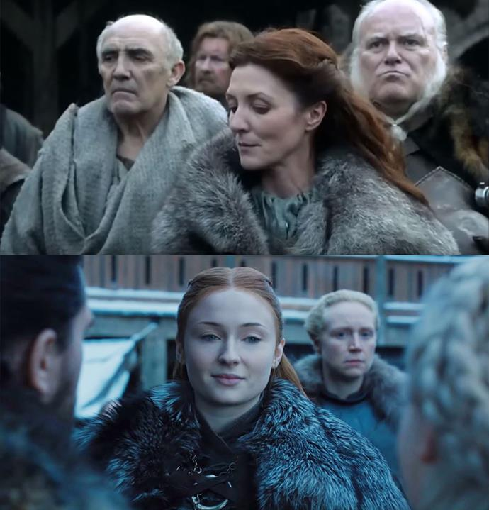 In the pilot episode, Lady Stark (then Catelyn Stark) was visibly wary of the king and queen's arrival, in season eight, Lady Stark (now Sansa Stark) is equally as apprehensive and distant with her new arrivals.<br><br>  Sansa also mirrors her mother with her clothing and hairstyle.