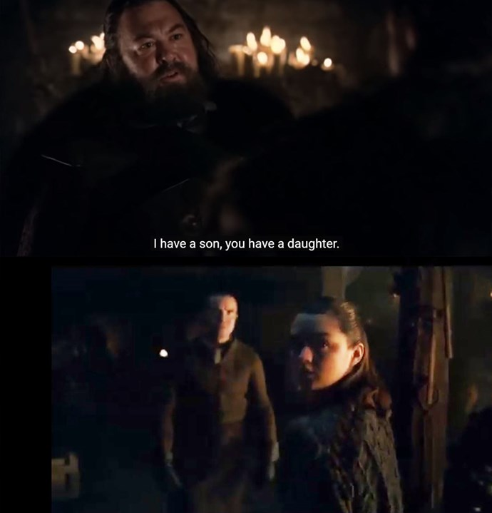"""Fans were delighted when Gendry and Arya were reunited (and seemed to hit it off more than their last run-in), and thought it may have been a call-back to Robert Baratheon's first episode line: """"I have a son, you have a daughter, we'll join our houses."""" Gendry is, of course, the bastard son of Robert."""